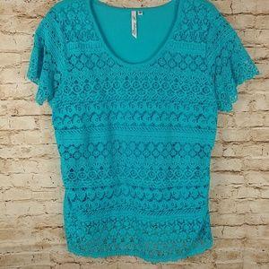 N.Y. Collection Aqua Blue PXL tee shirt